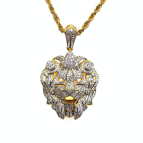 MICRO PAVE CZ LION HEAD PENDANT & NECKLACE SET GOLD