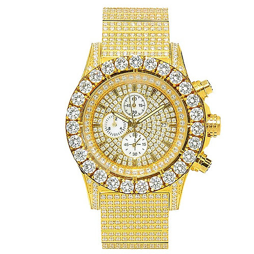 FORTE HIGH END ICED OUT WATCH GOLD