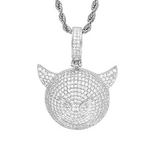 ICED OUT EMOJI DEVIL PENDANT PLATINUM