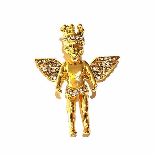 MINI ANGEL WITH CROWN GOLD PENDANT