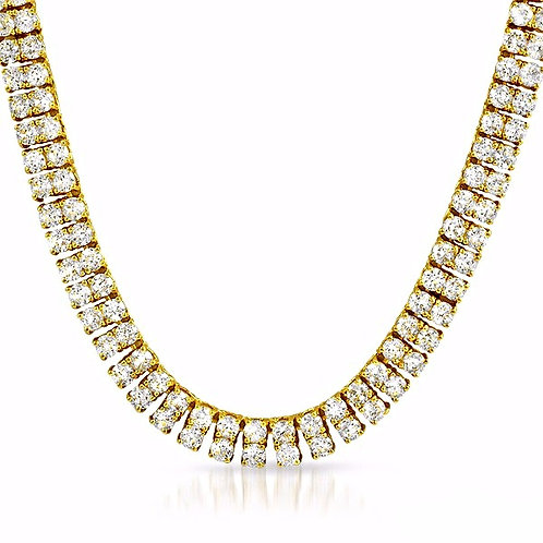 2 ROW LAB MADE DIAMOND TENNIS CHAIN GOLD