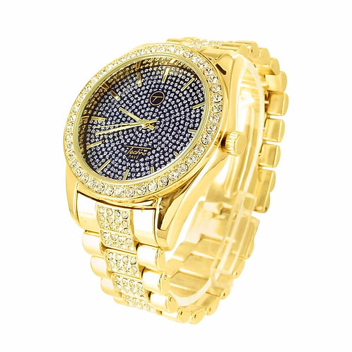 TECHNO PAVE ICE KING MICRO PAVED WATCH GOLD BLACK FACE