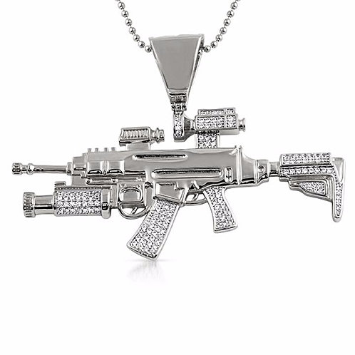 MACHINE GUN CZ PENDANT & NECKLACE SET PLATINUM