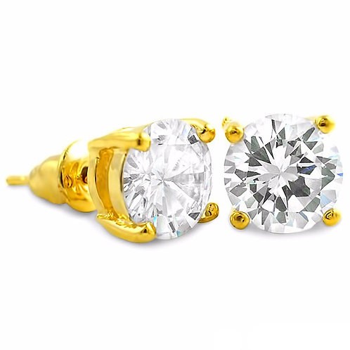 VVS FLAWLESS ROUND CZ STUD EARRINGS GOLD
