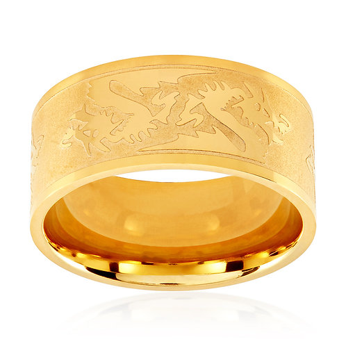 DRAGONS ETCHED GOLD IP BAND RING