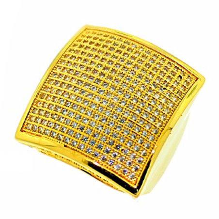 BIG SQUARE FACE CZ ICED OUT RING GOLD