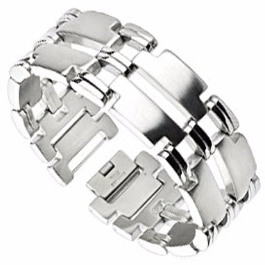 MIRRORED T LINKS DUO BAND BRACELET