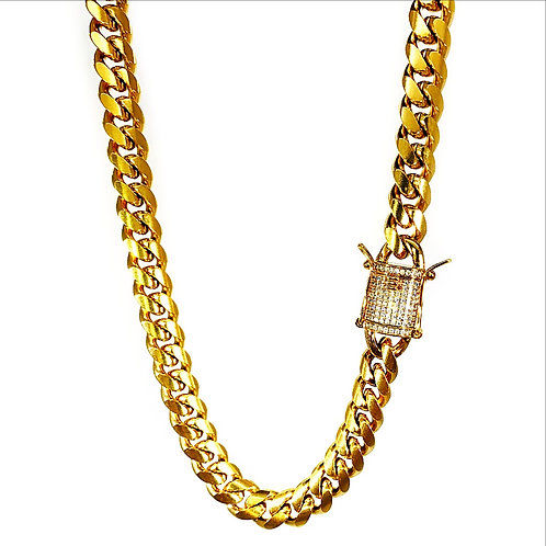 PREMIUM MICRO PAVED CLASP HIGH POLISHED MIAMI CUBAN CHAIN 10MM IP GOLD