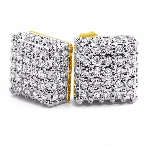 FULL MICRO PAVED BOX EARRINGS GOLD
