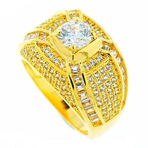 CENTER STONE BAGUETTE CUT CZ ALL AROUND ICED OUT RING