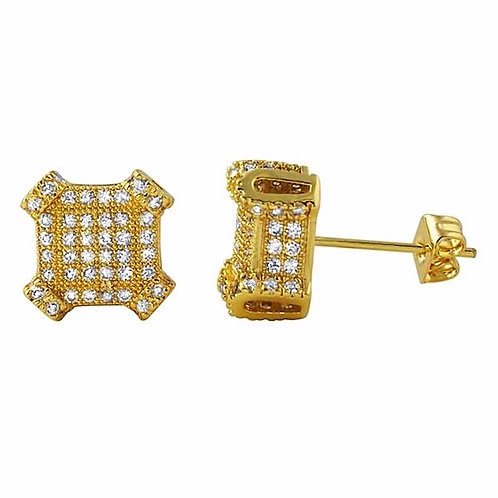 2.10 CTW LAB SIMULATED DIAMOND CUBE EARRINGS GOLD