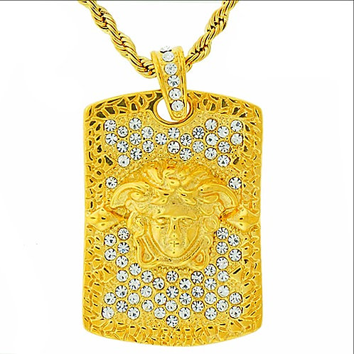 HIGH POLISHED MEDUSA ID PLATE MEDALLION NUGGET PENDANT IP GOLD
