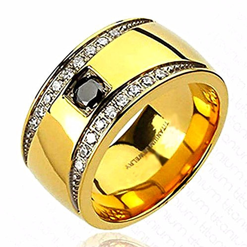 CRESCENT DESIGN MULTI-CZ GOLD IP BAND RING