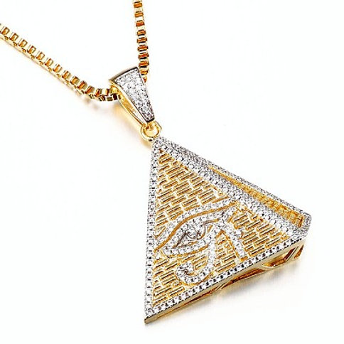 ICED OUT EYE OF HORUS 3D PYRAMID PENDANT & NECKLACE SET