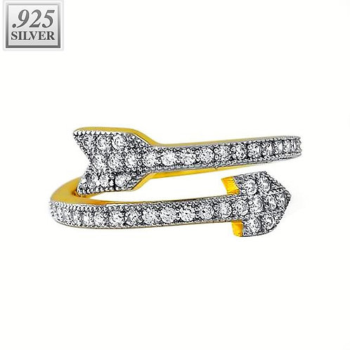 CELEB INSPIRED ICED OUT ARROW PINKY FINGER RING GOLD