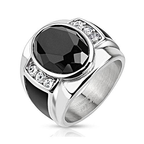 DIAMOND CUT ONYX STONE BLACK ENAMEL SIDES