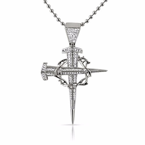 STAKE AND THORN CROSS CHAIN PLATINUM