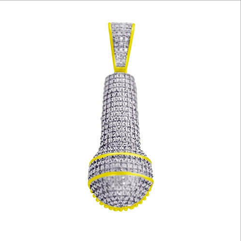 ICED OUT MICROPHONE PENDANT GOLD