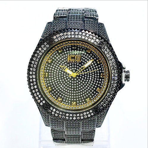 LAVISH DESIGN WATCH BLACK BAND GOLD NEEDLE FRAME