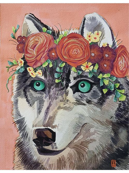 Flower Crown Wolf