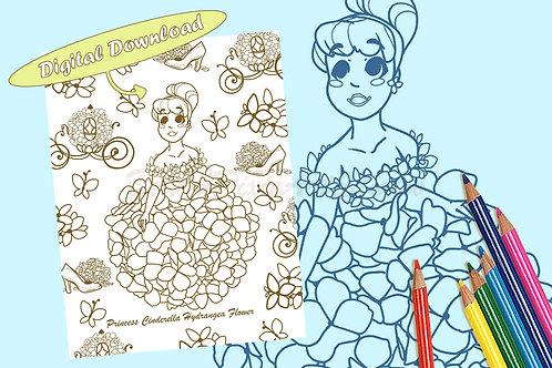 Cinderella (Hydrangea Flower) Coloring Sheet - Brown - DIGITAL DOWNLOAD