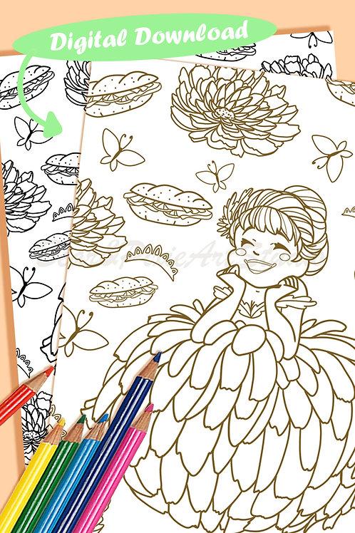 Anna (Orange Chrysanthemum Flower) Coloring Sheet - Brown - DIGITAL DOWNLOAD