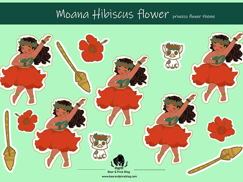 Moana (Hibiscus Flower) Multi-Sticker Set