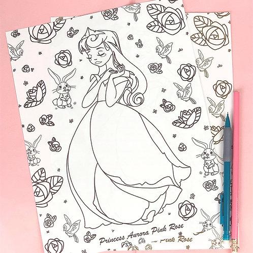 Aurora (Pink Rose) Coloring Sheet - Black - DIGITAL DOWNLOAD