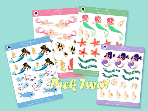 Mermaid Stickers Multi-Set - PICK TWO