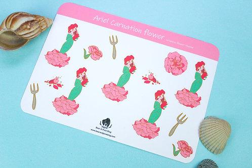 Ariel (Carnation Flower) Multi-Sticker Sheet