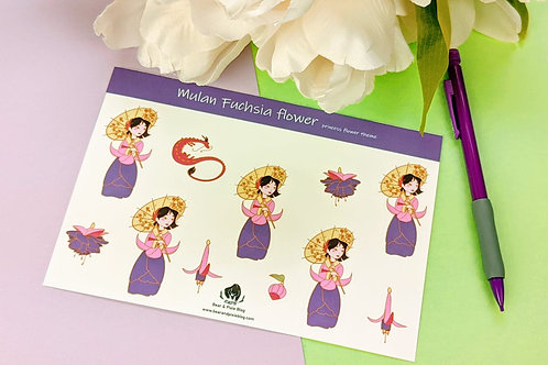 Mulan (Fuchsia Flower) Multi-Sticker Set