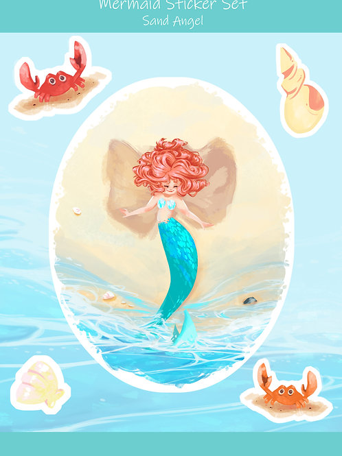 Sandy the Mermaid Sand Angel on the Beach Sticker Set
