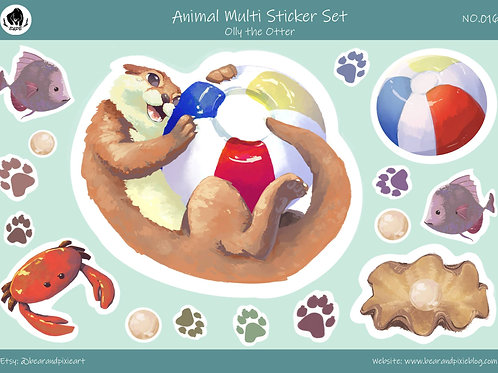 Olly the Otter Sticker Set - Cute Otter and Friends