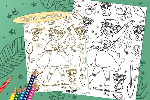 Moana (Hibiscus Flower) Coloring Sheet - Black - DIGITAL DOWNLOAD