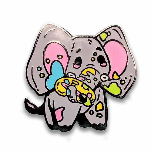 Ellie the Elephant Enamel Pin - Cute Painting Elephant Pin
