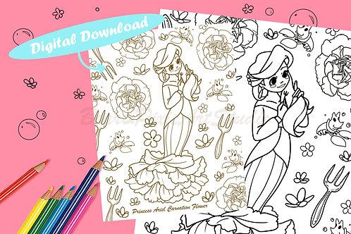 Ariel (Carnation Flower) Coloring Sheet - Black - DIGITAL DOWNLOAD