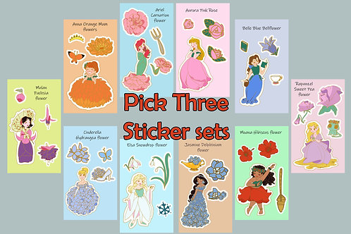 Disney Princess Single Character Flower Sticker Sets - PICK THREE