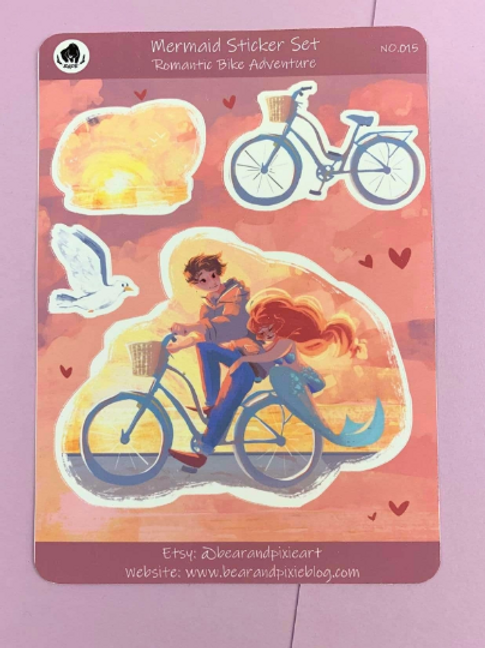 Sandy the Mermaid Bike Ride at Sunset Sticker Set