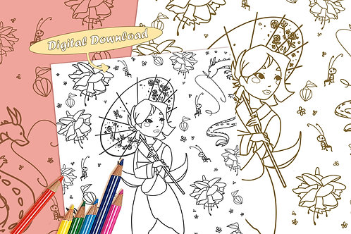 Mulan (Fuchsia Flower) Coloring Sheet - Black - DIGITAL DOWNLOAD