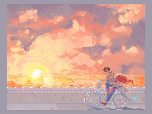 Sandy the Mermaid Bike Ride at Sunset - 8.5 x 11 inch Print