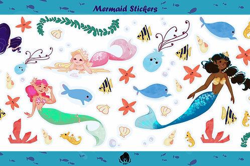 Large Multi-Mermaid Sticker Set