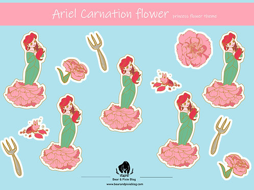 Ariel (Carnation Flower) Multi-Sticker Sheet