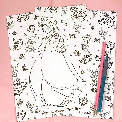 Aurora (Pink Rose) Coloring Sheet - Brown - DIGITAL DOWNLOAD