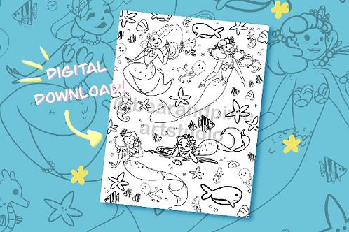 Mermaid Pattern Coloring Page - DIGITAL DOWNLOAD