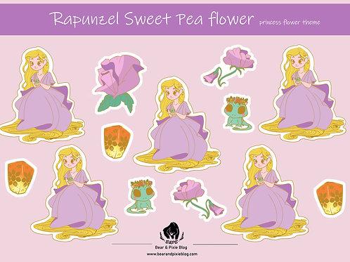 Rapunzel (Sweet Pea Flower) Multi-Sticker Set