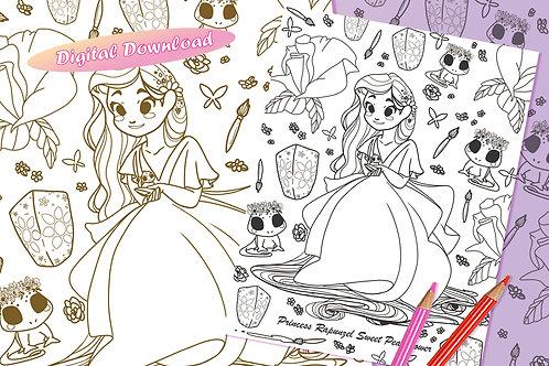 Rapunzel (Sweet Pea Flower) Coloring Sheet - Black - DIGITAL DOWNLOAD