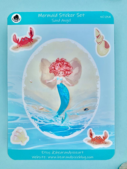 Sandy the Mermaid Sand Angel on the Beach Sticker Set