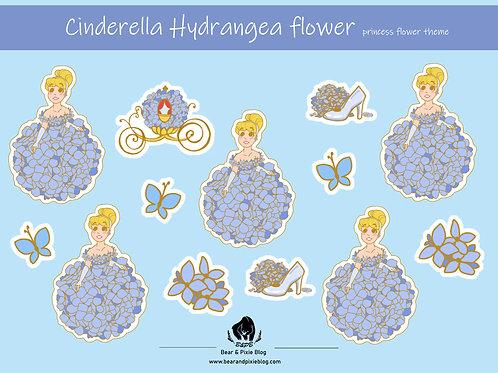 Cinderella (Hydrangea Flower) Multi-Sticker Set