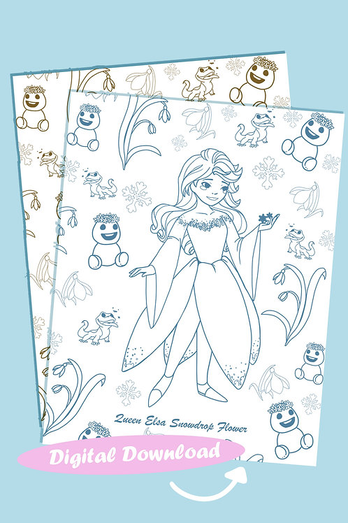 Elsa (Snowdrop Flower) Coloring Sheet - Brown - DIGITAL DOWNLOAD