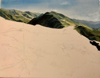 Step One: the beginning of a landscape painting